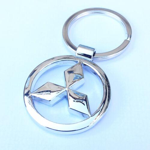 MITSUBISHI 3D Chrome Metal Car Logo Keyring Key Fob Keychain