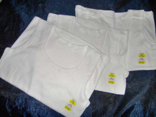 3 PACK BOYS WHITE COTTON VESTS AGE 1-2  3-5  6-8  9-11 11-13 YEARS