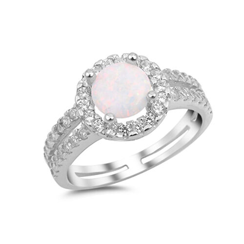 .925 Sterling Silver Halo Style Simulated Opal CZ Fashion Ring Size 5-10 NEW