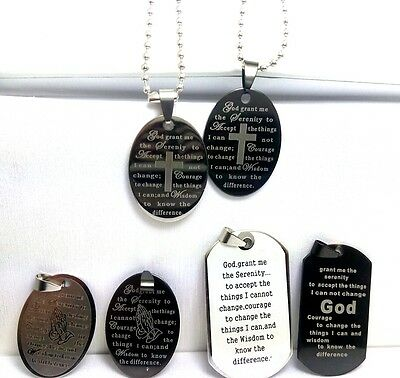 30 mix Serenity prayer Bible  stainless  steel pendant necklace dog tag lots