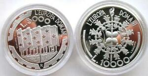 San-Marino-1999-Europe-Union-Mint-Box-Set-2-Silver-Coins-Proof