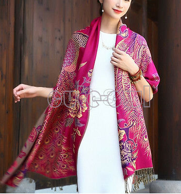 New Lady's Double Side Pashmina Silk Wrap Shawl Fuchsia Peacock