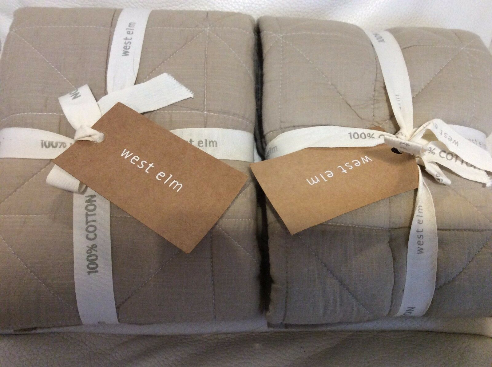West Elm Quilted Nomad Two (2) Euro Shams Natural NWT  Beige Khaki Voile