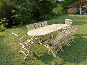 Salon de jardin en teck ensemble table MAHUI + 6 chaises + 2 ...