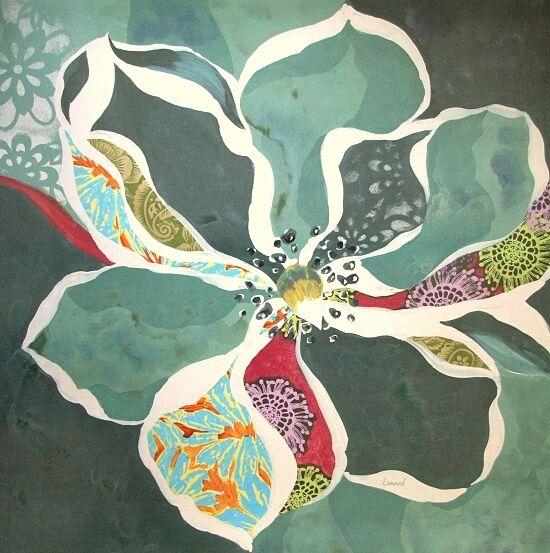 Elizabeth Leonard  Bohemian Floral 1 terminé-image 70x70 la fresque Fleurs Moderne