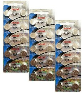 30-Pack-Maxell-LR44-AG13-357-Button-Cell-Battery-NEW-HOLOGRAM-PACKAGE