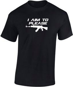I Aim to Please T-shirt Airsoft Funny Gift  Mens Fathers day Top Shooting