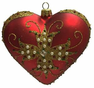 Red And Gold Heart With Jeweled Cross Polish Glass Christmas Tree Ornament 841554119820 Ebay