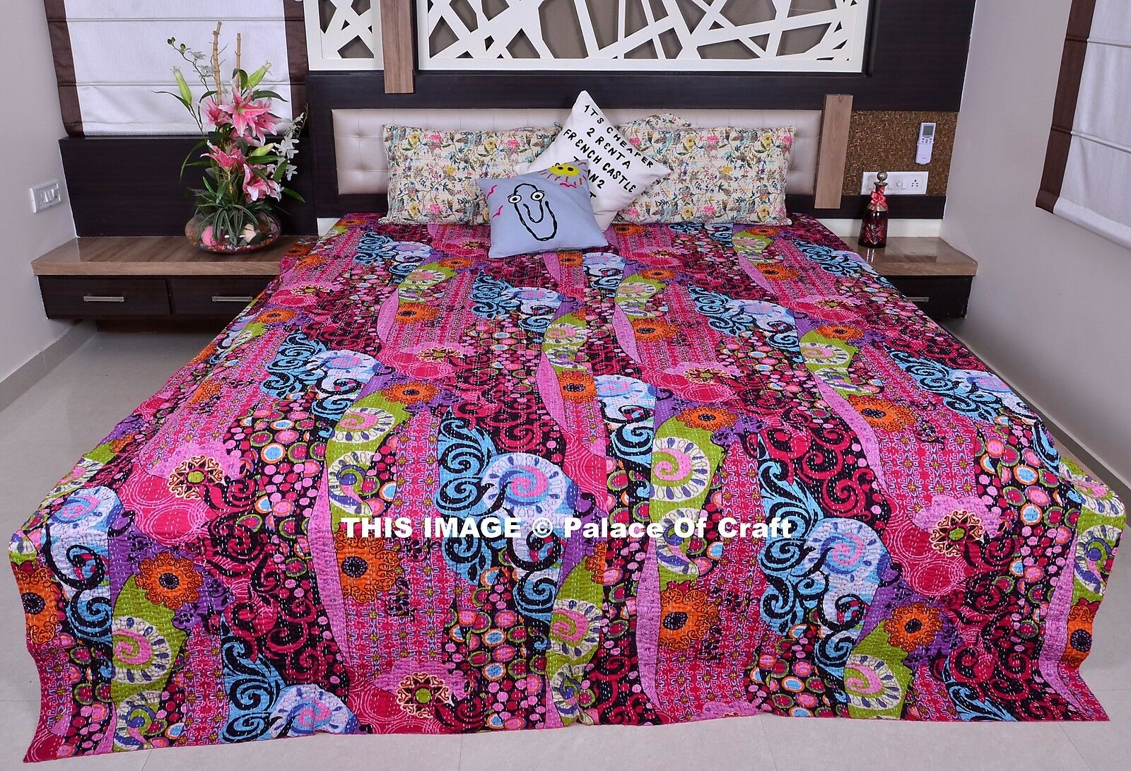 Indian Floral Queen Size Kantha Quilt Ethnic Bedspread Reversible Gudari Decor