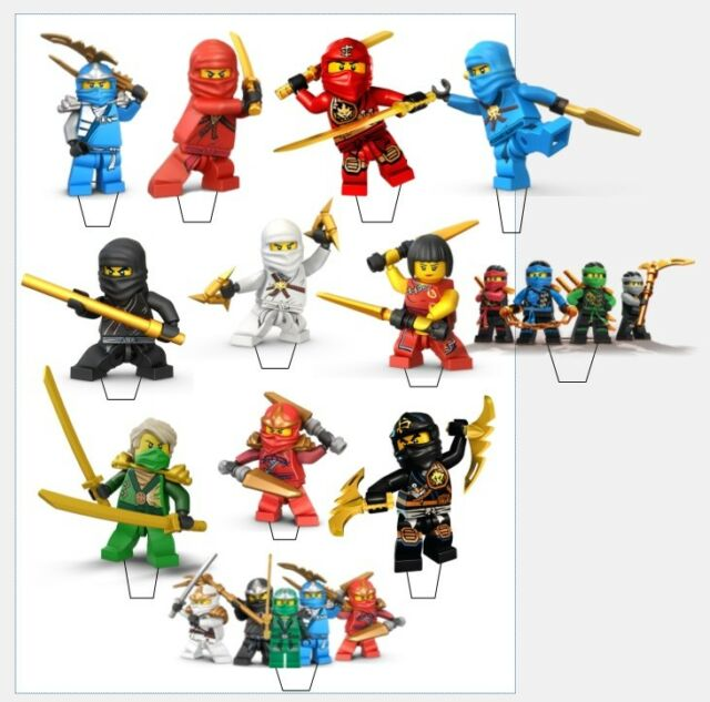 22 X Lego NINJAGO Birthday Edible Stand Up Cupcake Toppers PRE CUTCAKE PARTY