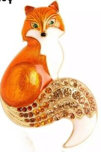 Orange Fox with Bejeweled Tail Vintage Gold  Pin Brooch D-1374