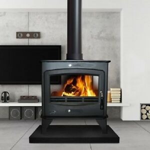 Details about Heritage Brandon 16kw Wood Log Burner Stove Room Heater Matt  Black Double Sided
