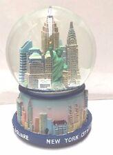 100 mm Musical New York City Snow Globe, Blue Base, NYC Skyline Souvenier