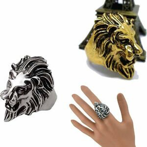 Stainless-Steel-Lion-039-s-Head-Ring-Men-039-s-Vintage-Cool-Ring-American-Size-8-10-Best