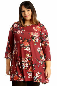 e901c5702ea2 New Womens Plus Size Tunic Ladies Swing Top Floral Print Skater ...