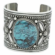 Andy Cadman, Kingman Turquoise Bracelet, Sterling Silver, Signed, Navajo, 7 in