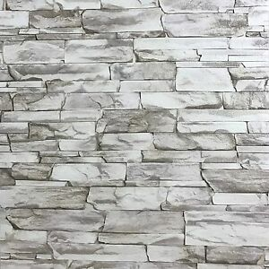 expended vinyl Wallpaper textured gray silver modern brick ...