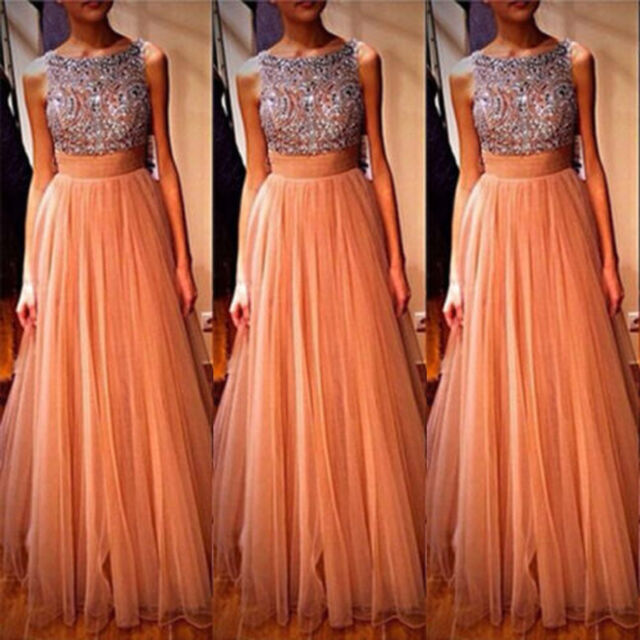 Women's Tulle long Party Evening dress Prom Cocktail Bridesmaid Gown stock size