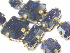 Vintage Sparkle Glitter Sapphire Blue Glass & Brass Earrings STUNNING