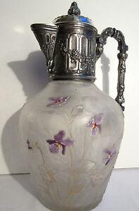 Carafe-aiguiere-cristal-degage-acide-Victor-SAGLIER-emaille-Legras-Les-violettes