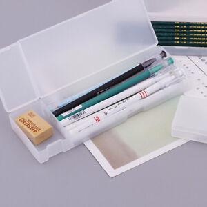 Details about Plastic Pencil Box Transparent Frosted Clear Pen Holder for  Kids Children Z