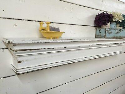 farmhouse mantle 48 inches shabby chic floating shelf vintage style mantle