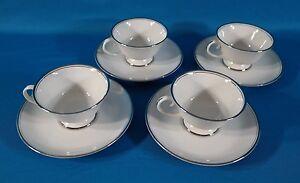 Flintridge China Bon Lite Mirador (Rim) Coffee Cup & Saucer Set of 4
