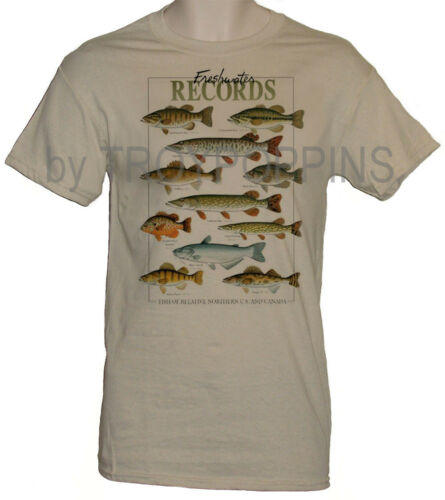 1-MENS WEAR-FRESHWATER RECORDS SPORT GAME FISHING GEAR GRAPHIC PRINTED T-SHIRT
