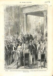 Berlin Noce d'Or de l'Empereur Guillaume Ier & Impératrice Augusta GRAVURE 1879 - France - Berlin Noce d'Or of Emperor William I and Empress Augusta Religious Ceremony in the Chapel of the Imperial Palace France ANTIQUE PRINTGRAVURE 100 % DÉPOQUE 1879 PORT GRATUIT EUROPE A PARTIR DE 4 OBJETS BUY 4 ITEMS AND EUROPE SHIPPING IS FREE Il  - France