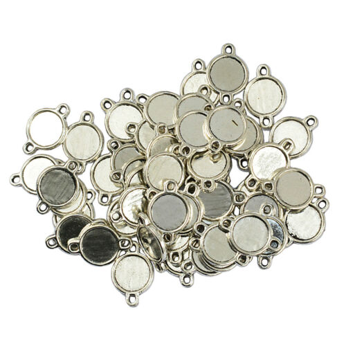 50pcs 10mm Double Sided Round Cameo Cabochon Pendant Setting Blanks Tray