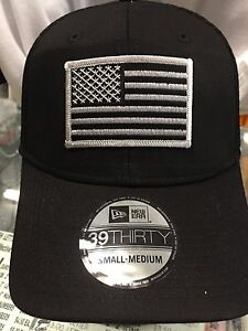 New Era NE1020 Black FlexFit Hat Cap With Subdued Grey American USA ... 0da0bdad831