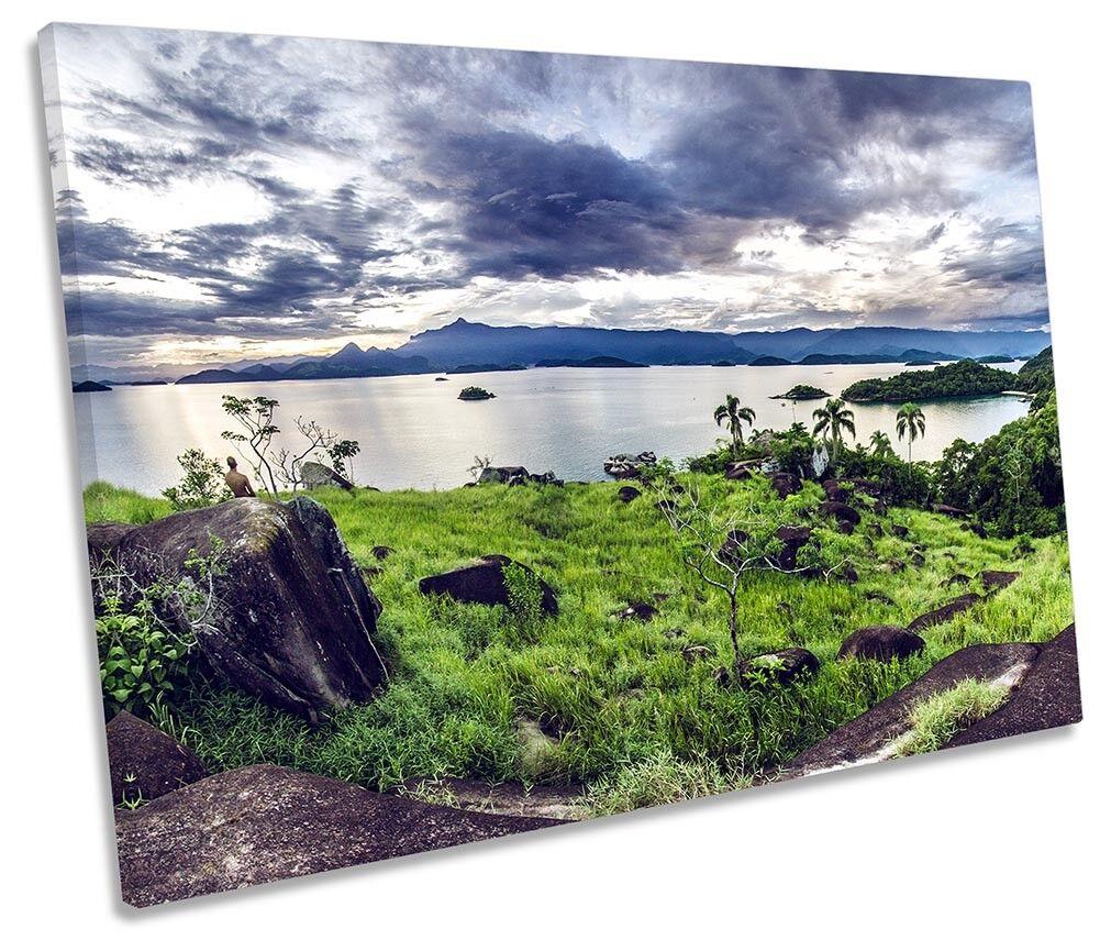 Brazil Grün Landscape Lake Picture SINGLE CANVAS WALL ART Print