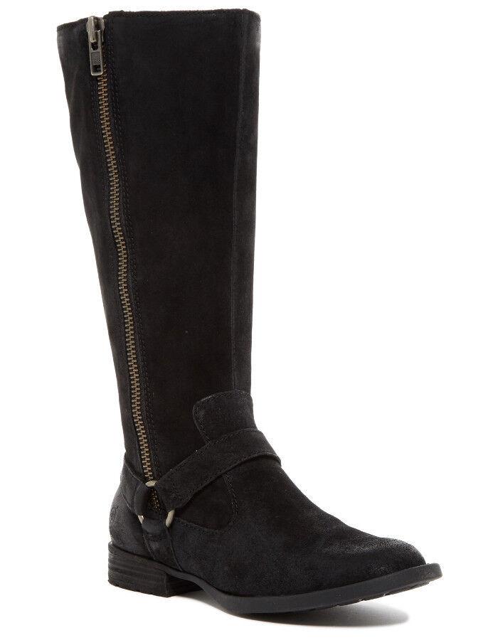 in vendita NEW BORN Delall Delall Delall nero Distressed Suede Leather Riding avvio Dimensione 12 M Side Zipper  Sconto del 70%