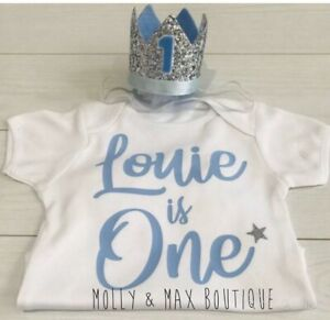 Luxury Boys First 1st Birthday Outfit Cake Smash Set Vest Baby Blue Crown Hat