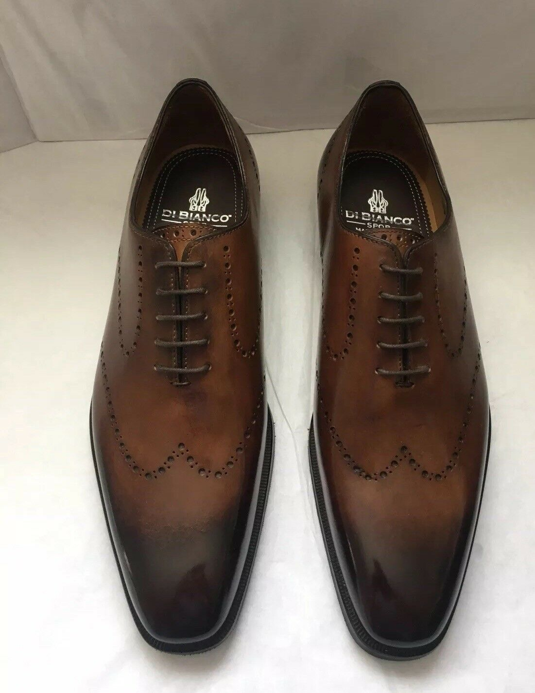 """Di Bianco shoes""""Deco Zenzero"""" Men's Wingtip Burnished Loafer shoes Size 8.5"""