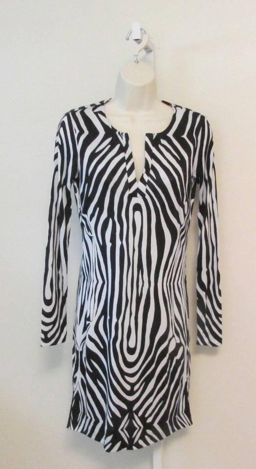 Diane von Furstenberg Reina Tete Zebra schwarz Weiß 0 tunic dress New DVF silk