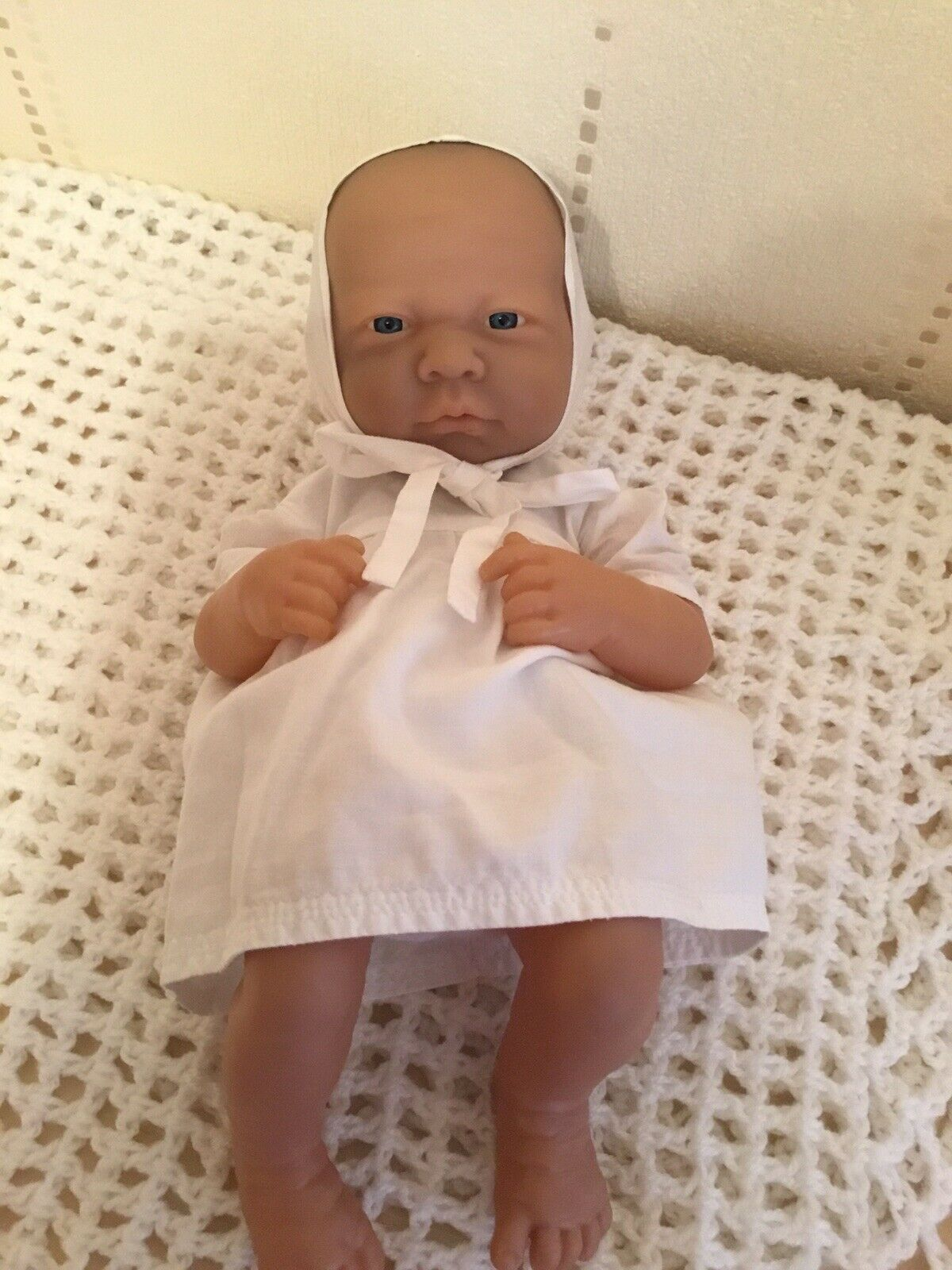 Baby Sum Sum Doll In Vintage Dress, Bonnet and Towelling Nappy