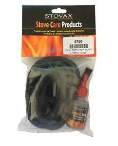 Stovax 13mm soft black rope stove door seal kit rope for 14mm stove door rope