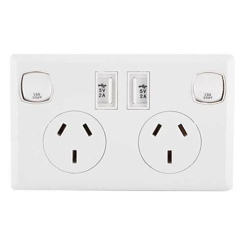 Two Switch Home Power Point Supply Plate AU Plug Dual USB Australian Wall Socket
