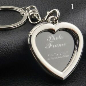 Photo-Picture-Frame-Keyring-Metal-Alloy-Mini-Insert-Keychain-Square-Heart-Gift