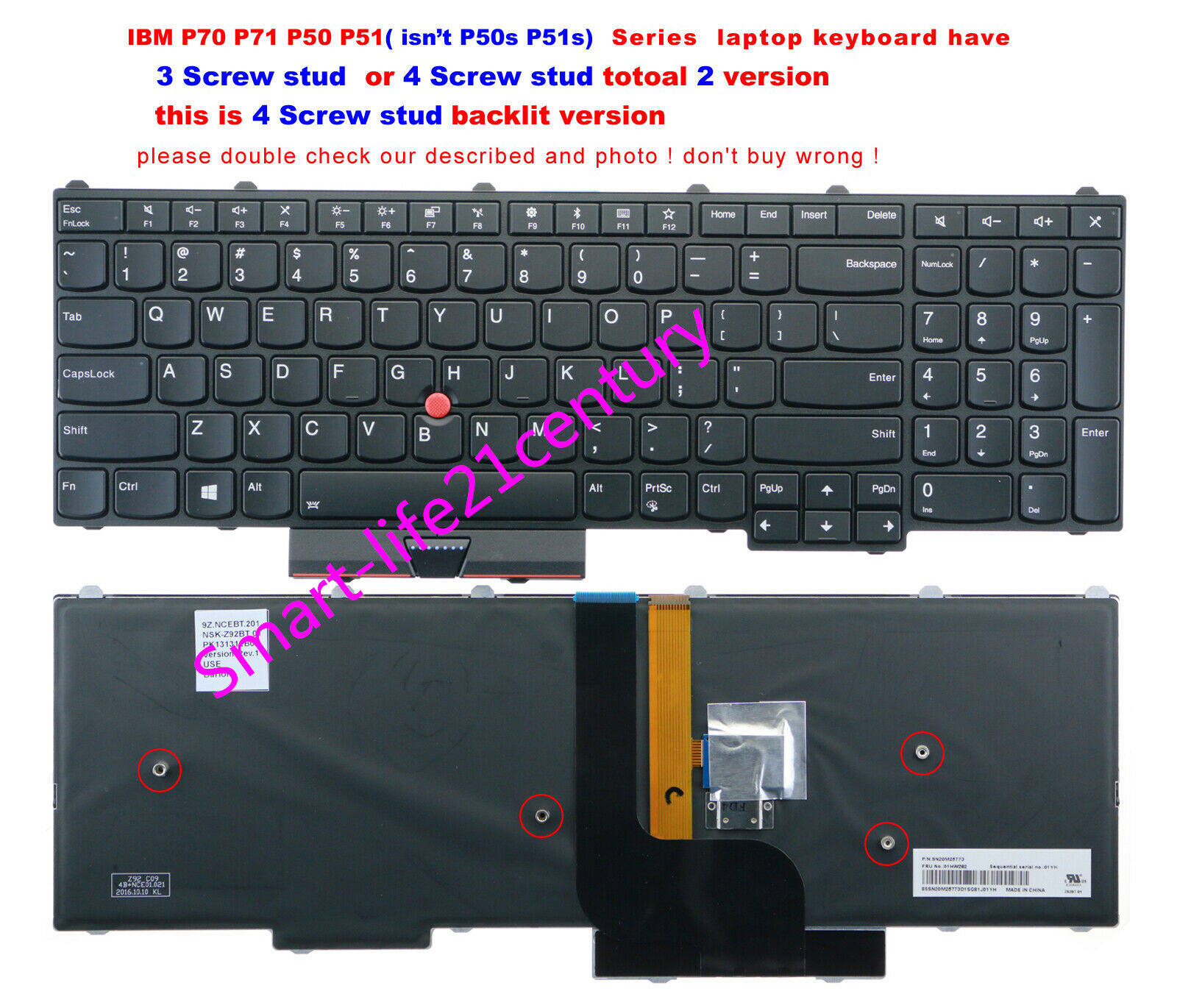 For lenovo IBM Thinkpad P51 P50 (isn't P50s P51s) keyboard US backlit--- 4 stud