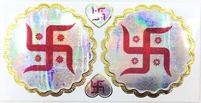 2 x Bright Red Background and Gold Swastik Foil Adhesive Sticker –Shimmer Finish