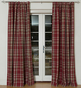 McAlister Textiles Heritage | Burgundy Red Tartan Curtains 90x90, Blackout Lined
