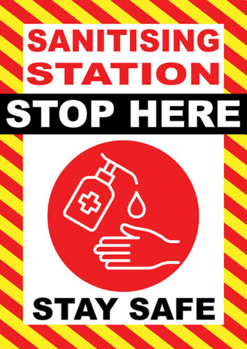 DESIGNATED AREA SANITISER STATION POSTER BANNER SIGN NOTICE FOR WALL ETC