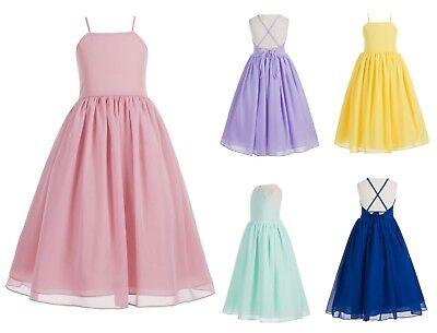 Yoryu Chiffon V-neck Flower Girl Dress Wedding Communion Summer Easter S1503NF