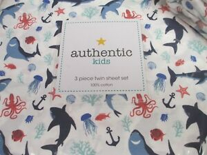 Authentic-Kids-White-Blue-Aqua-Sharks-Fish-Sea-Life-Sheet-Set-Twin