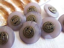 lot 6 boutons violet veiné coeur alliage blason 2,2 cm couture mercerie ref 2100