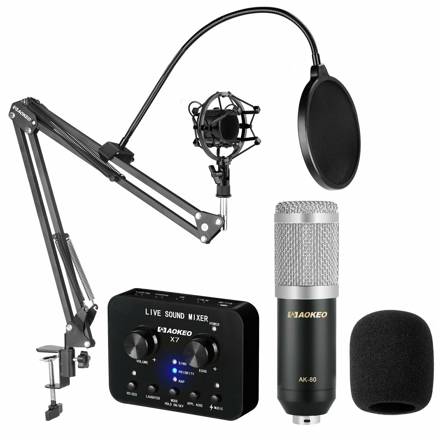 Podcasting Mic Set w  Mixer Microphone Voice Recording YouTube Live Streaming