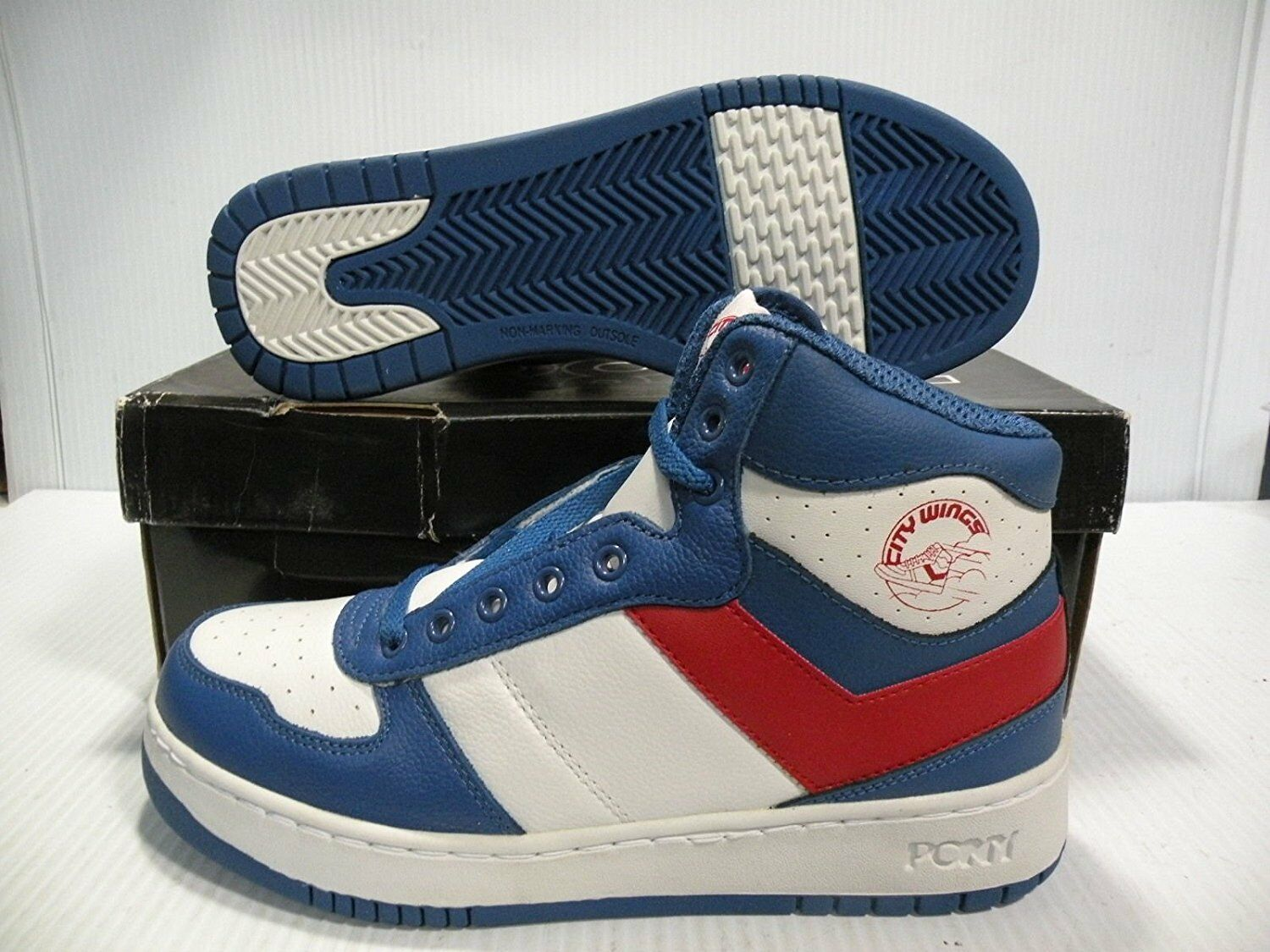 PONY CITY WINGS HI CHEVRON SNEAKERS uomo SHOES WHITE/BLUE/RED SIZE 8.5 NEW Scarpe classiche da uomo