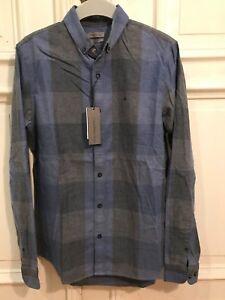 Details zu CK Calvin Klein Jeans Slim Fit Hemd Freizeit Shirt Gr. S Herren Blau 100% Cotton